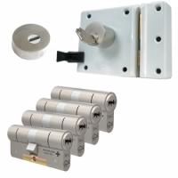 Oplegslot met RVS kerntrekrozet + M&C Condor cilinder (4x) - SKG***
